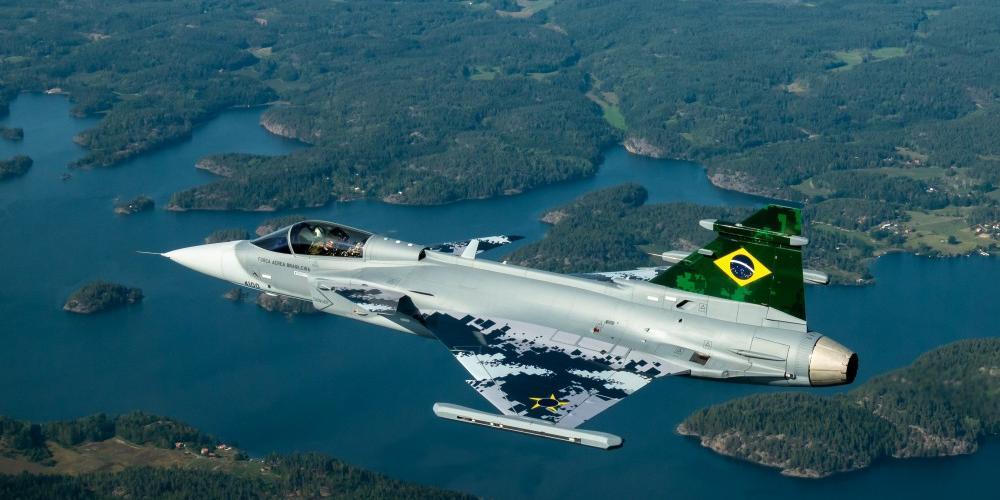 Caça Gripen é capaz de superar a velocidade do som (Divulgação/SAAB Brasil)
