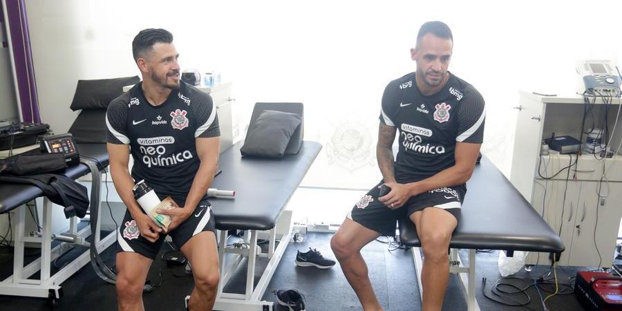Giuliano e Renato Augusto fazem avaliação física no Corinthians (Rodrigo Coca/ Agência Corinthians)