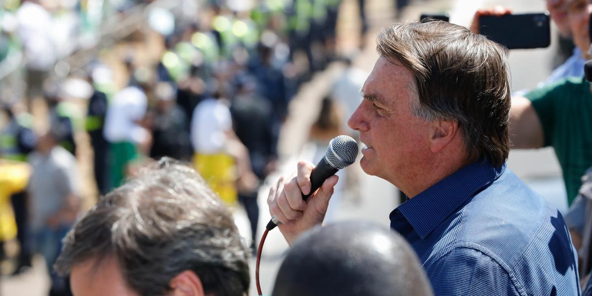 Presidente Jair Bolsonaro (sem partido) em discurso durante ato com apoiadores (Alan Santos/Planalto)