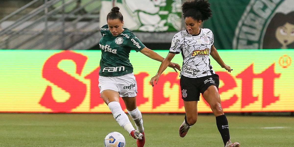 Lance da partida entre Palmeiras e Corinthians, válida pela final (jogo de ida) do Campeonato Brasileiro Feminino (Fabio Menotti/Palmeiras)