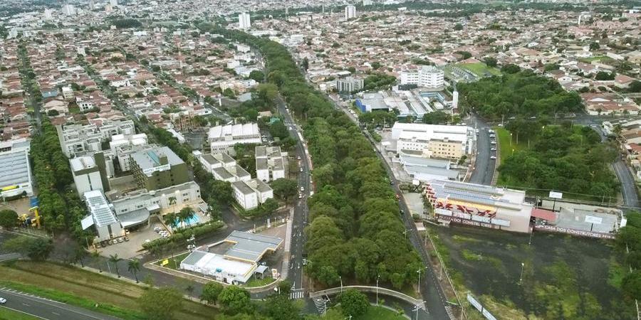 Vista área da região da avenida Murchid Homsi, uma das mais arborizadas de Rio Preto (Guilherme Baffi 17/1/2021)