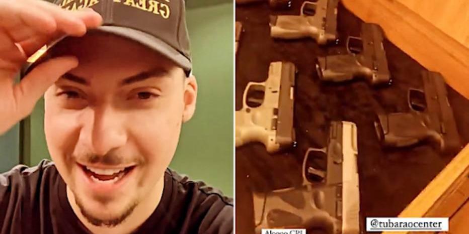 Jair Renan Bolsonaro em stories mostrando armas e provocando CPI da Covid (Reprodução/Instagram)