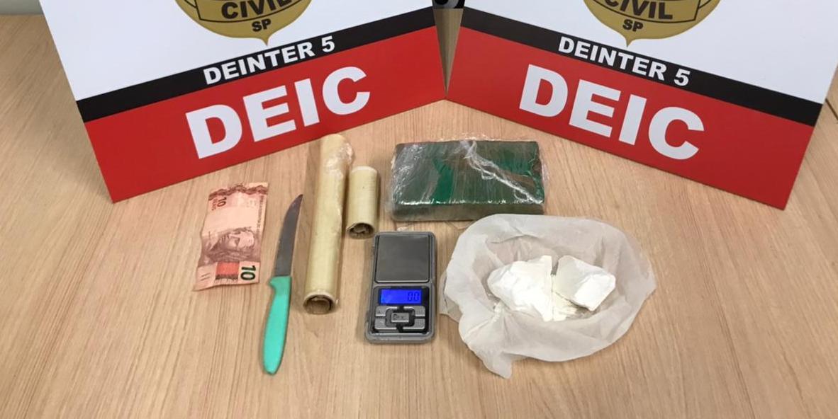 Drogas e objetos encontrados com o homem no bairro Lealdade, em Rio Preto