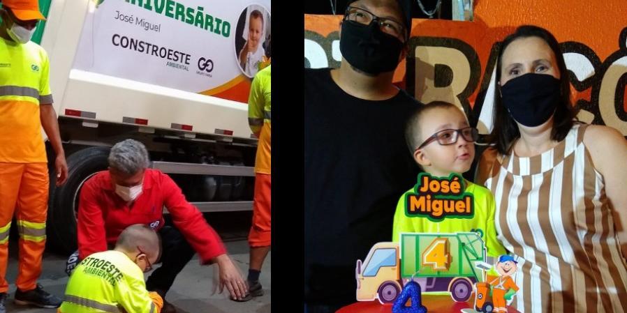 Criança de Rio Preto faz aniversário com tema 'coletores de lixo' (Divulgação)