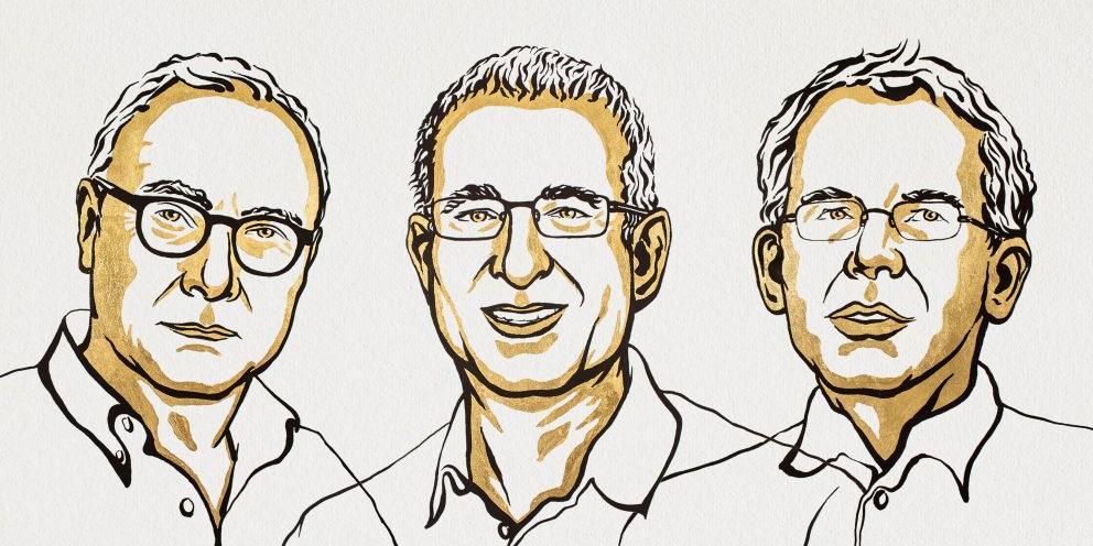 David Card, Joshua Angrist e Guido Imbens, ganhadores do Prêmio Nobel de Economia (Niklas Elmehed © Nobel Prize Outreach)