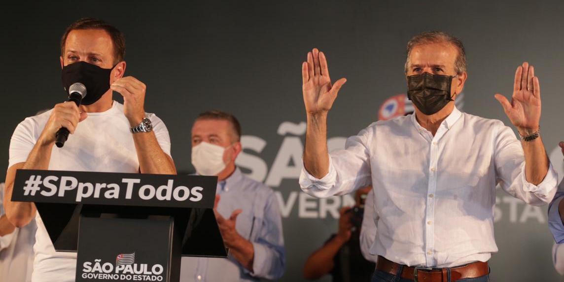 O governador João Doria e o prefeito Edinho Araújo durante evento em Rio Preto (Johnny Torres 14/10/2021)
